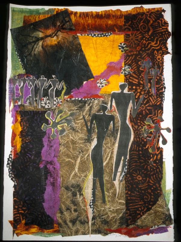 Rhythem - 40x29 - Handpainted, Handmade Paper Collage