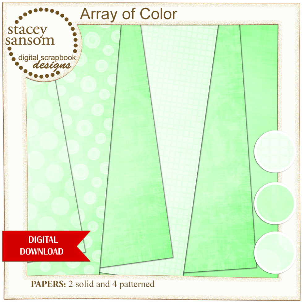 Array of Color Bright Green Paper Pack from Stacey Sansom Designs
