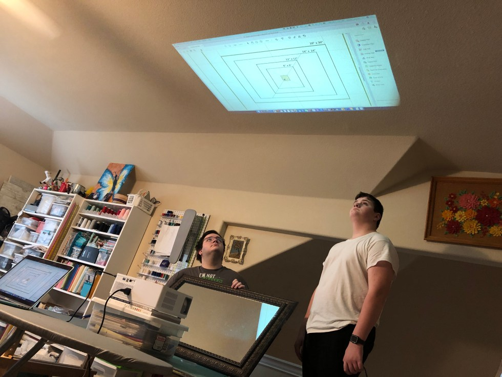 Reverse testing the projector and mirror installation method.