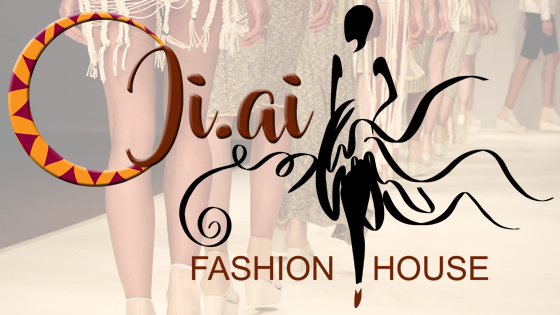 Charity Stachini Ji-ai Fashion House Logo showing catwalk models in the background