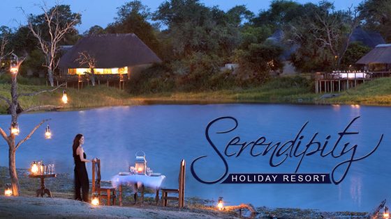 A Steve Stachini Project called Serendipity Holiday Resort with image of a lake secluded lake side Ugandan holiday resort