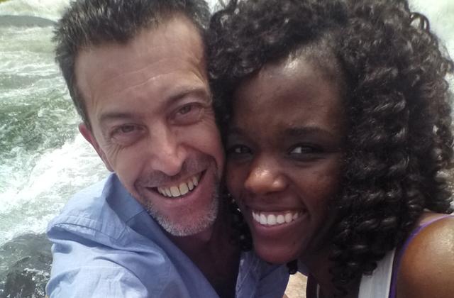 Steve Stachini BIO pic - With Charity Stachini at the Source of the Nile, Uganda.