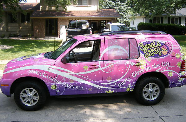 Steve Stachini BIO pic - A 4x4 vehicle wrapped in a pink graphic design for Sweet and Sassy.