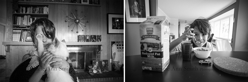 eating a bowl of cereal, b&w photograph