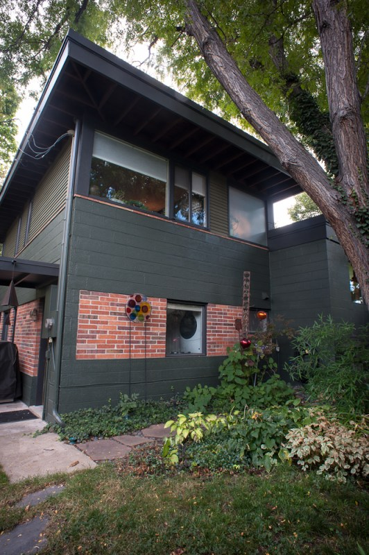 mid century modern exterior, paint and brick