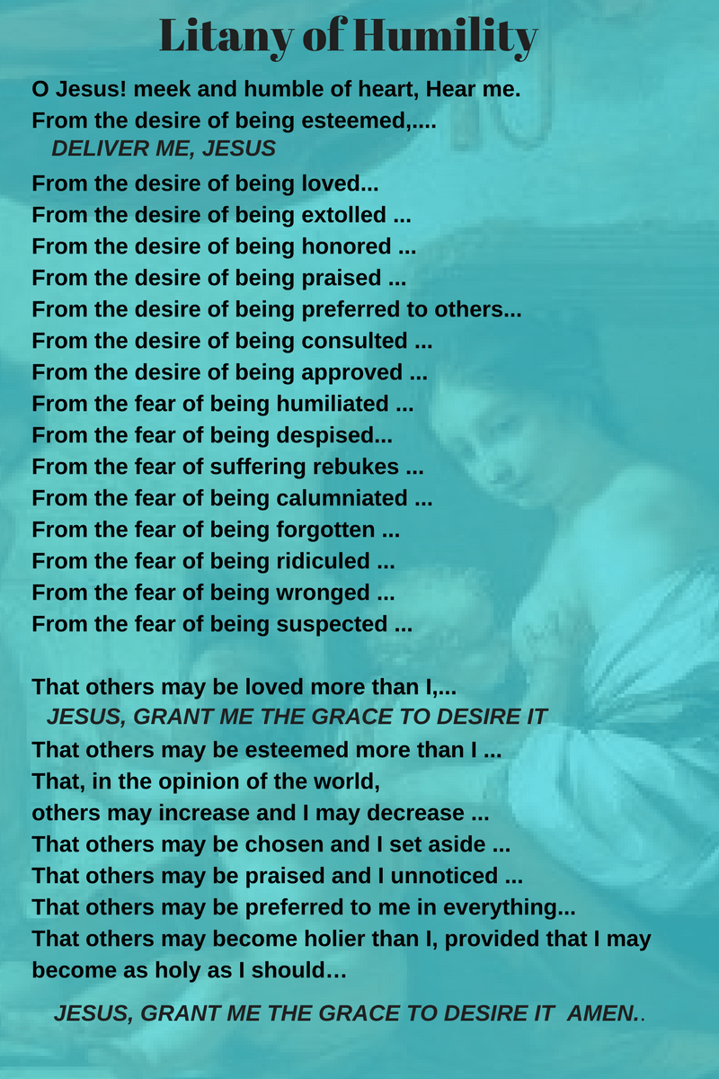 graphic about Litany of Humility Printable identified as Litany Humility - 12 months of Fresh Drinking water
