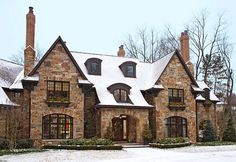 tudor in snow