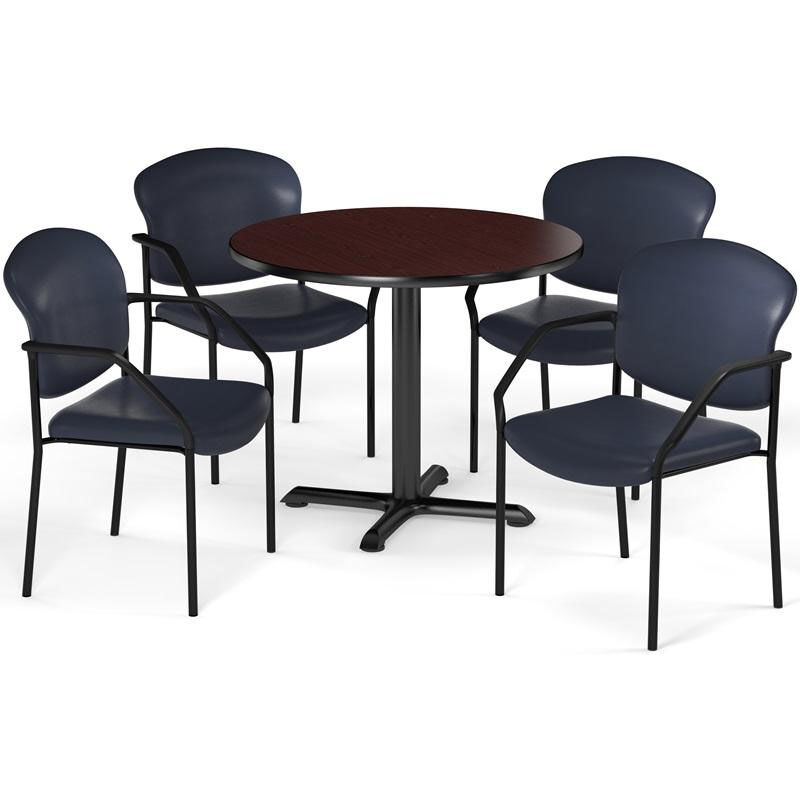 Hover Round Chairs Multi Purpose 42 Round Xt Base Table With 4 Manor Anti Microbial Vinyl Stack Chairs Mahogany Table Finish And Navy Chairs