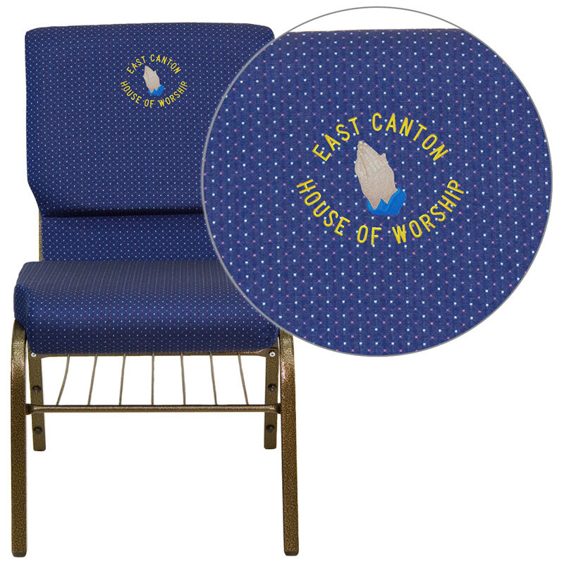 Blue Patterned Chair Embroidered Hercules Series 18 5 W Church Chair In Navy Blue Patterned Fabric With Book Rack Gold Vein Frame