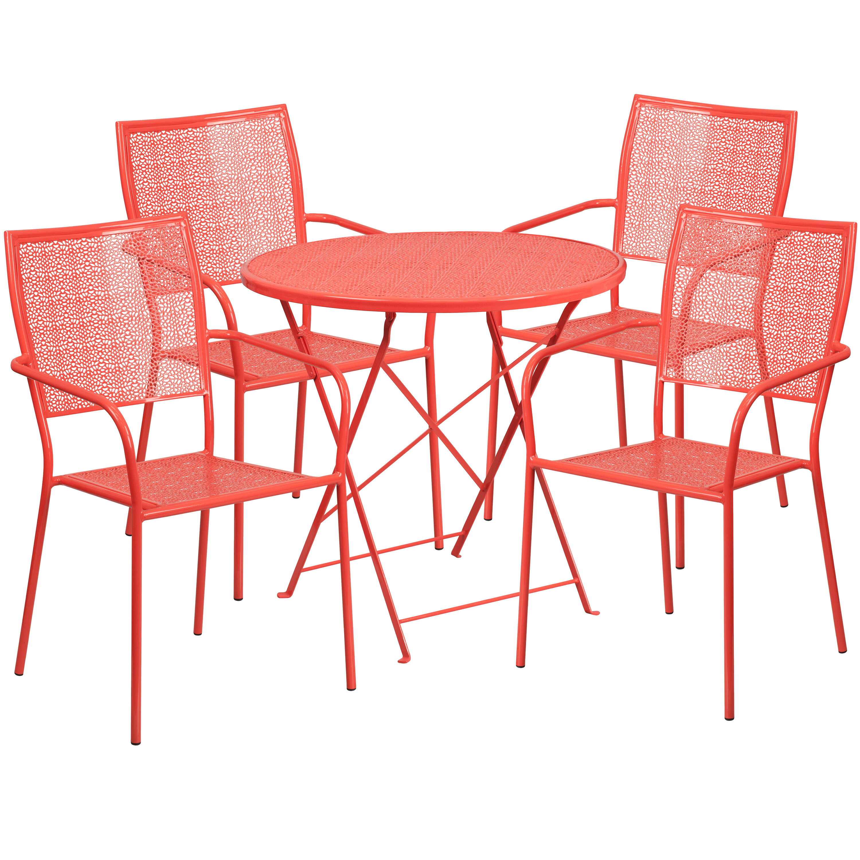 Red Patio Chairs 30 Round Coral Indoor Outdoor Steel Folding Patio Table Set With 4 Square Back Chairs