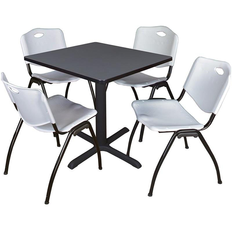 At Home Chairs Cain 30 Square Laminate Breakroom Table With 4 M Stack Chairs Gray Table Finish And Gray Chairs