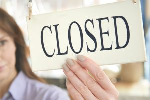 closed sign on front door