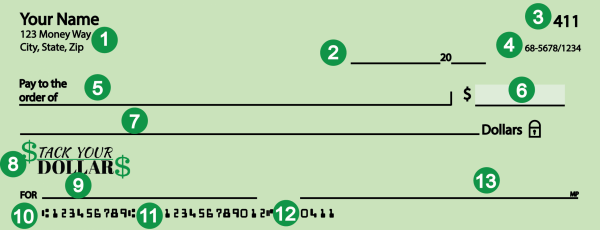 13 parts of a check with labeled sections