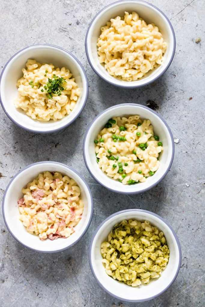 5 different Instant Pot Mac And Cheese bowls