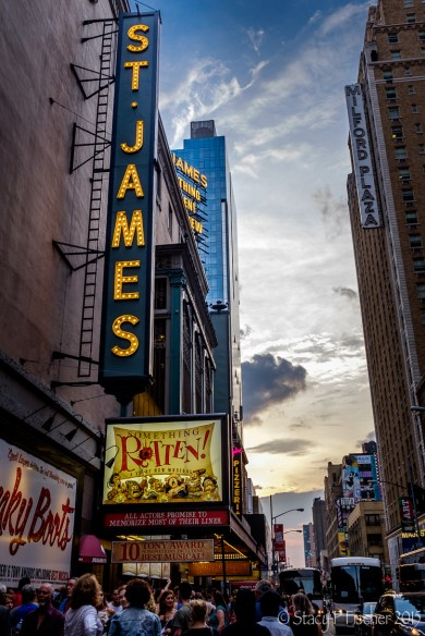 """St. James Theater Marquee """"Something Rotten"""""""