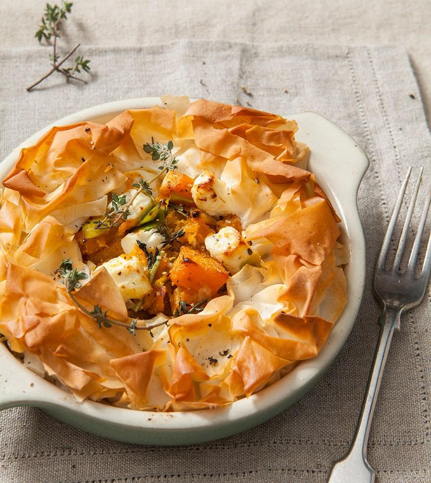 Butternut Squash and Feta Filo Pie | Stacy Grant