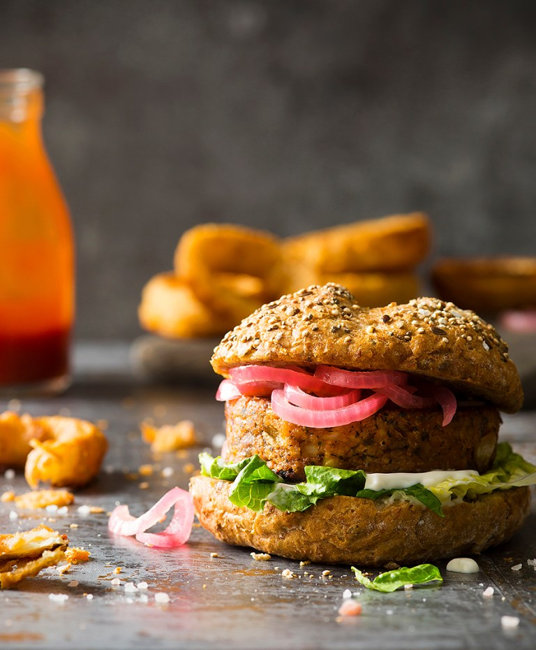 Veggie Bean Burger and beer battered onion ring Photographed by Stacy Grant