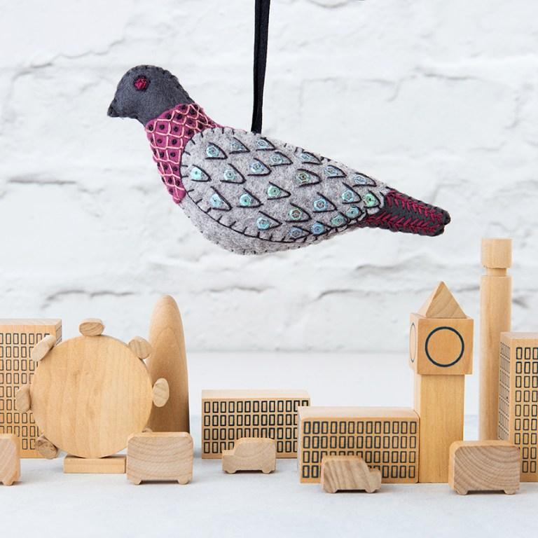 London Pigeon | Folk Embroider Felt Birds | Stacy Grant Photography