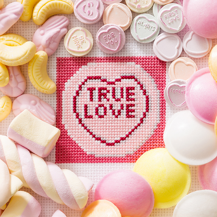 True Love | Retro Sweets | Love hearts | Stacy Grant Photography | XStitch Mag