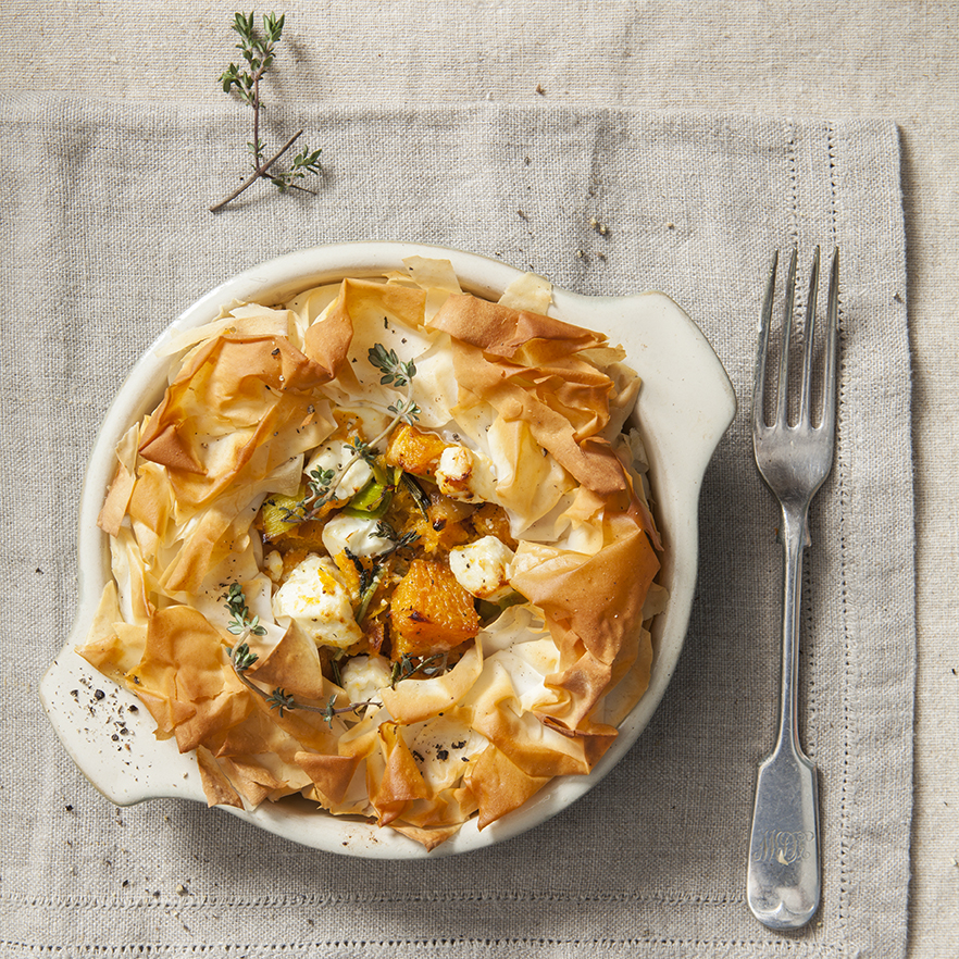 Meat Free Monday | Individual Butternut squash and feta cheese filo pie | Stacy Grant | Food Photography