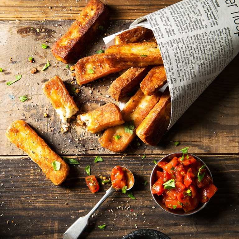 Halloumi chips, fries, Meat free Monday, Stacy Grant Photography