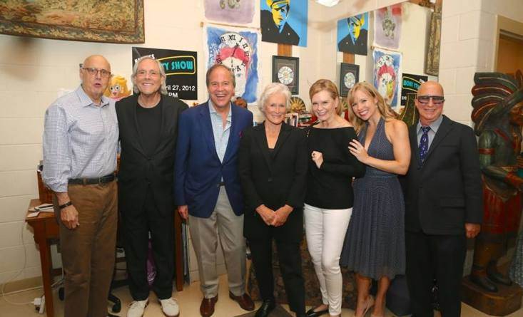 """Playhouse President John Farr: """"Last night I was proud to host an incredible group of performers who came out to support the Bedford Playhouse. It was an unforgettable evening."""" From left: Jeffrey Tambor, Robert Klein, John Farr, Glenn Close, Terre Blair (Mrs. Marvin Hamlisch), Marissa McGowan, and Paul Shaffer (Missing: Chazz Palminteri - from the shot, not the show!)  photo by Peter T. Michaelis"""