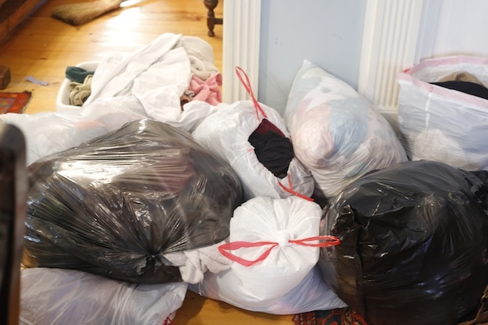 These are the mounds of laundry in garbage bags ready to be taken to my mom's to be cleaned!