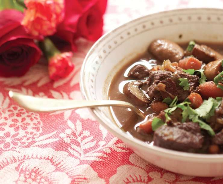 This is on my favorite dishes EVER! Venison Bourguignon is an easy make-ahead meal with BOLD flavors. Great for entertaining.