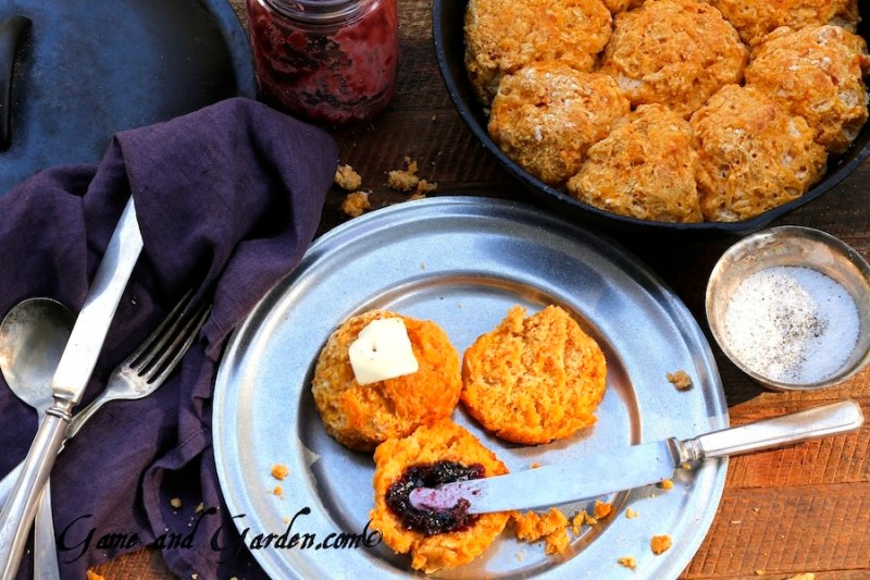 These Sweet Potato Biscuits have the perfect balance. They are moist, but have a slight crispiness to the outside. It kind of caramelizes on the bottom from the cast iron skillet. These are a must try recipe. I do believe they will go into your keeper box.