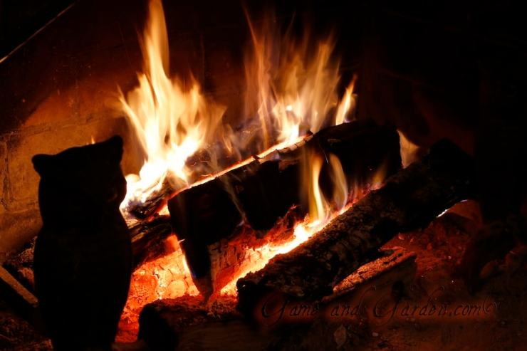 hot fire in fireplace