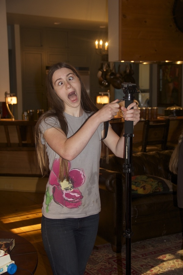 She seems pretty excited to be getting something to help with this blog!! Her first monopod!! Wouldn't that excite you?