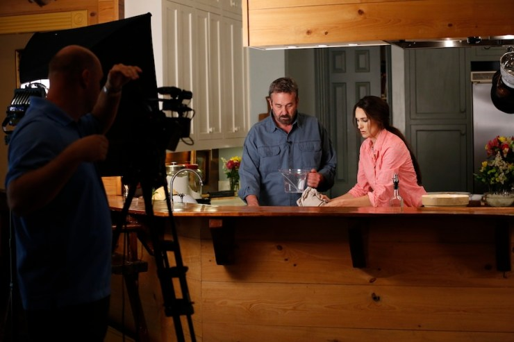 Scott Leysath and Stacy Harris cooking in Stacy's Kitchen for the Sporting Chef TV Show - we had lots of laughs!
