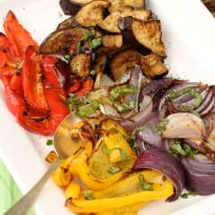 Stacy Lyn's roasted vegetables prepared and plated