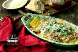 Homemade Sausage Ravioli with Creamy Mushroom Sauce