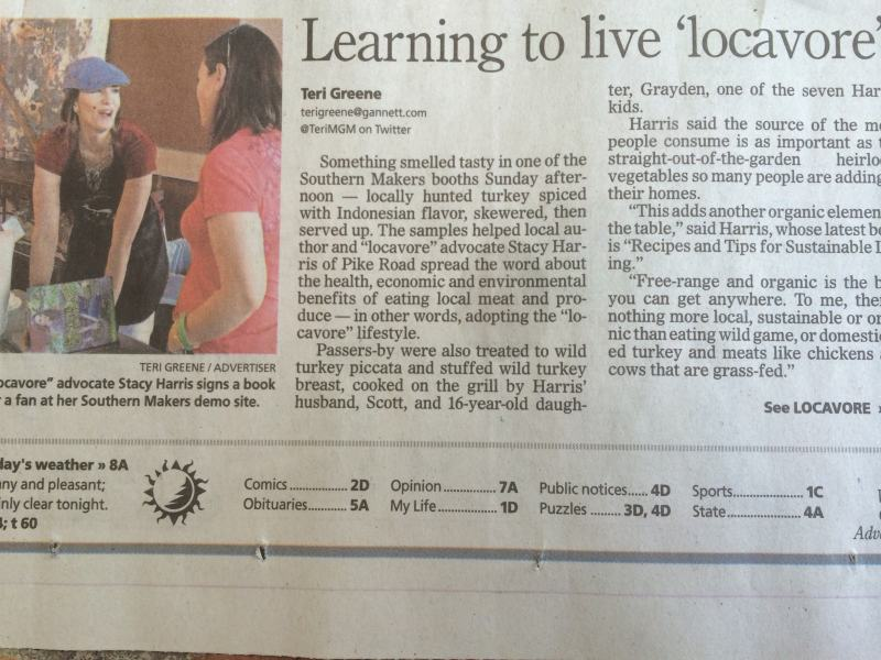 It was great to be a part of Southern Makers and teach what I have learned about living locavore. So much fun!!