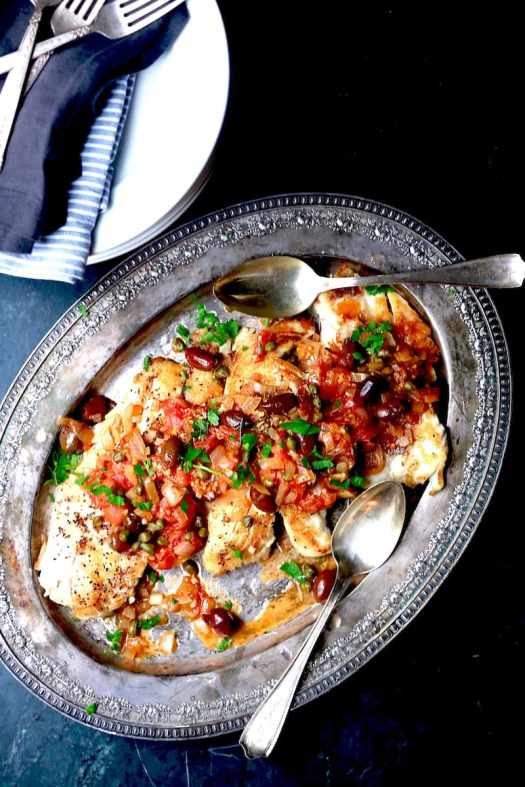 Greek Snapper recipe from my Harvest cookbook. It's full of crazy amazing flavor!!