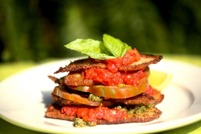 Fried Squash with Tomato, Marinara, and Basil