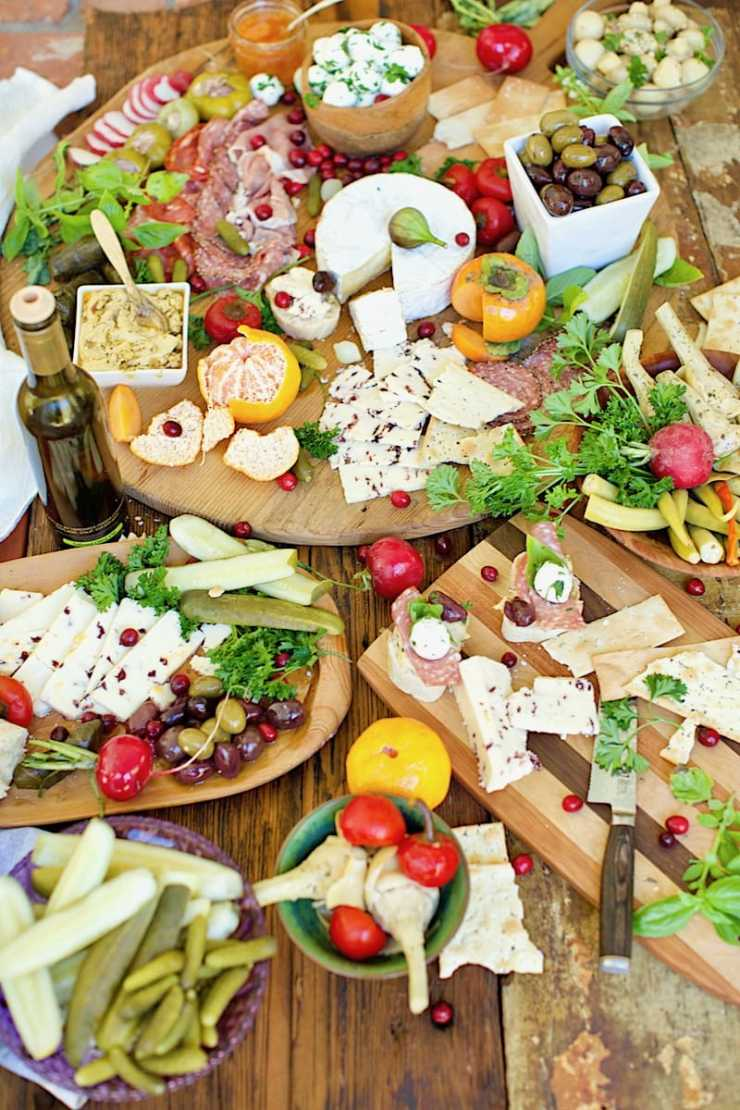 Serving Fresh Condiments like Homemade Hummus, Persimmon Jelly, Red Pepper Jelly, and Homemade Cheeses add interest to the traditional Antipasto Appetizer!