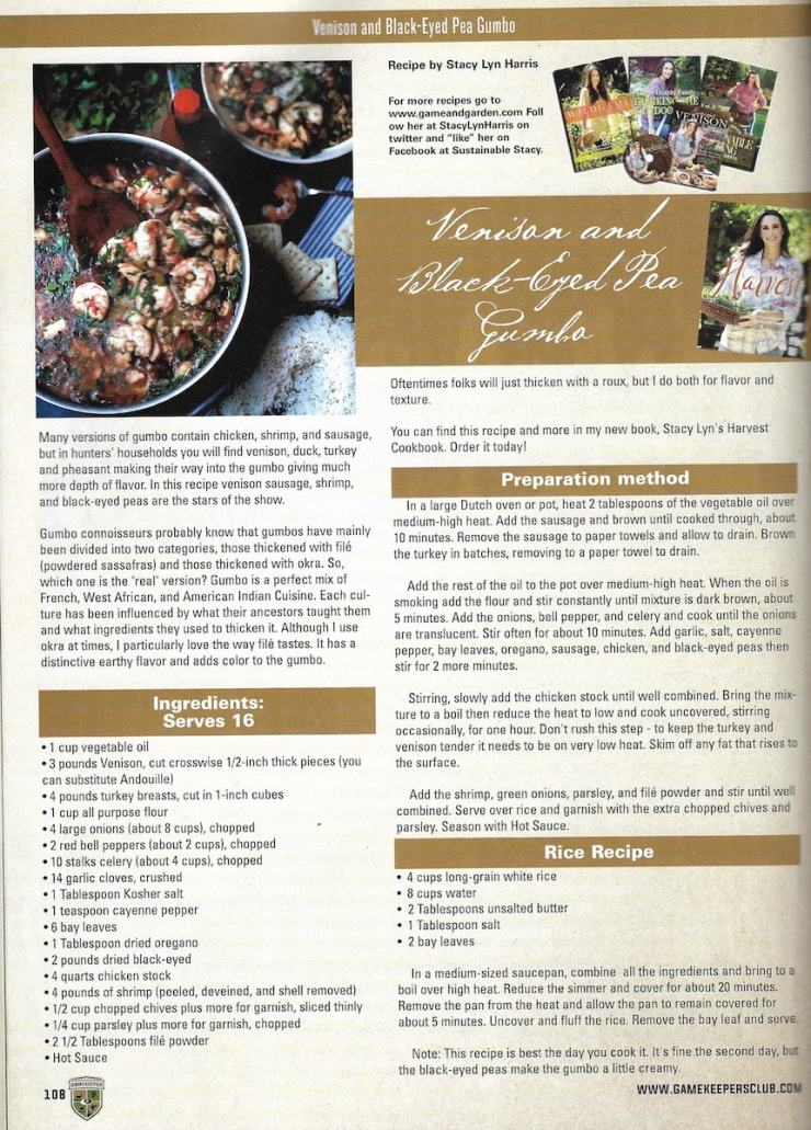 Stacy Lyn Harris' Black-eyed Pea Gumbo featured in Gamekeepers Magazine. Courtesy of Stacy Lyn's Harvest Cookbook.