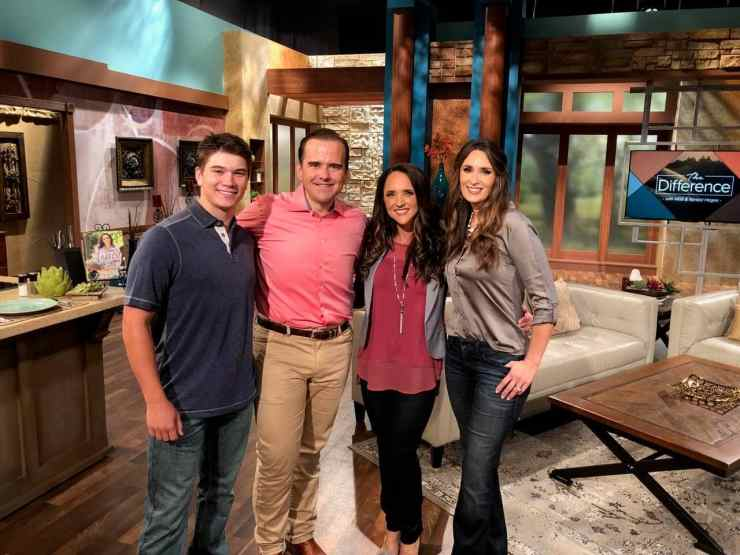 Stacy Lyn Harris on the set of The Difference with Matt and Kendal Hagee alongside her son Howlett
