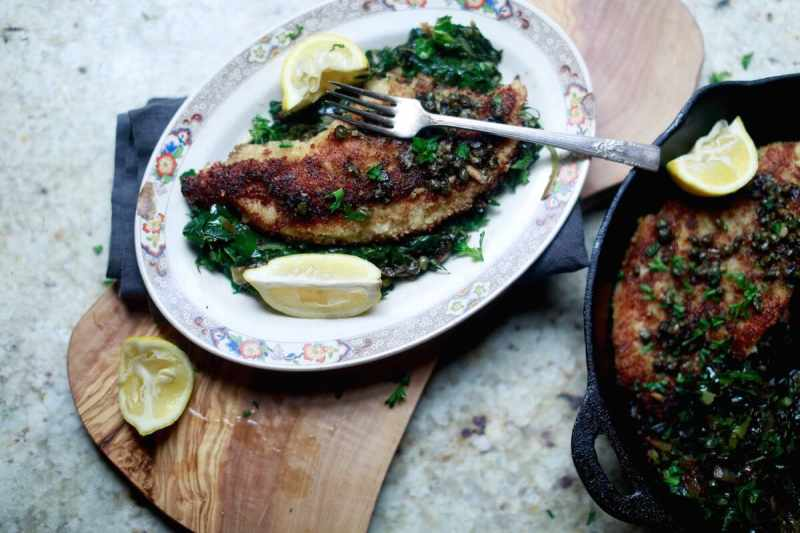 US Farm-Raised Catfish Piccata with capers and collard greens