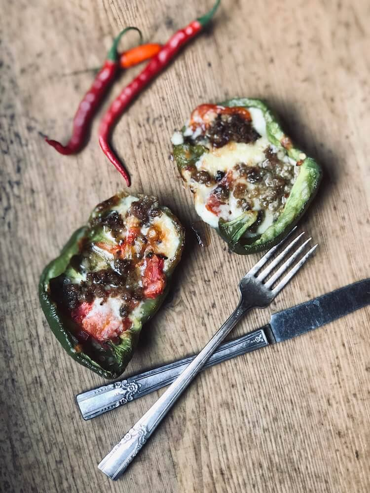 Roasted Bell Peppers Stuffed with Sausage and Cheddar recipe