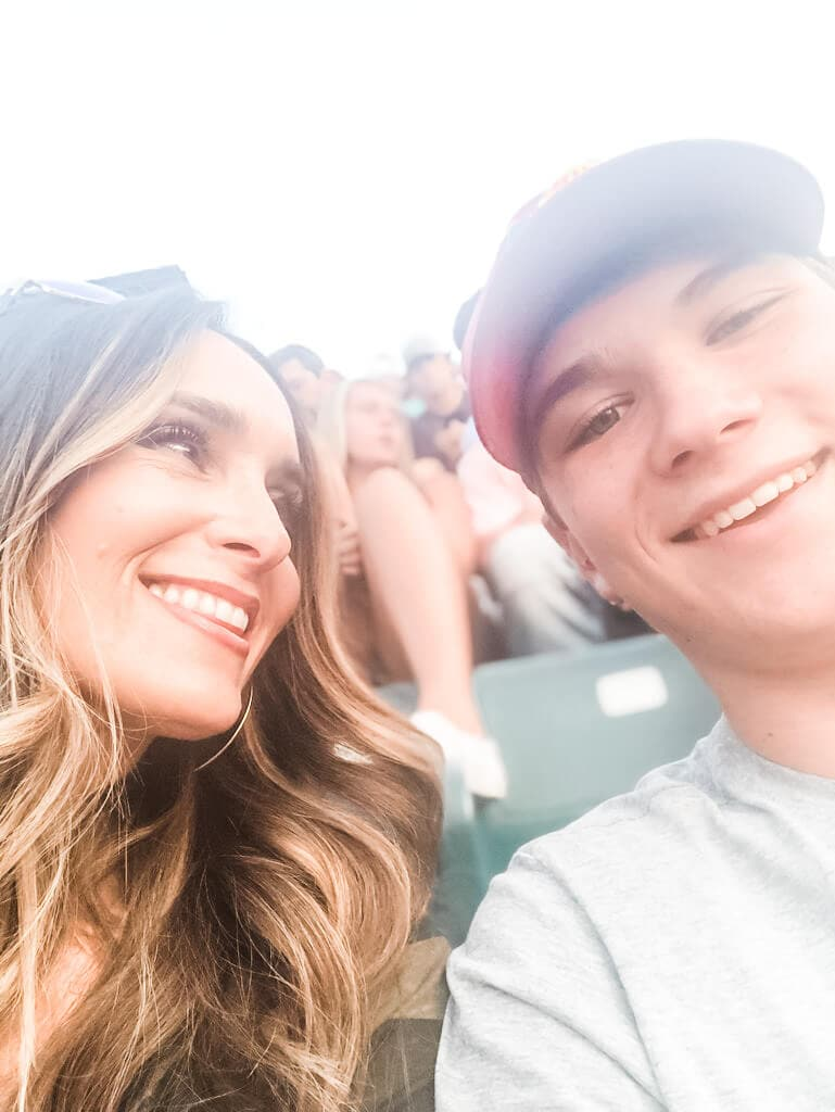 Stacy Lyn Harris at a Luke Bryan concert with her son
