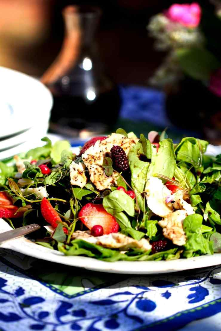 Dandelion Greens, Wood Sorrel, Greenbrier, and Wild Turkey Salad with balsamic vinaigrette recipe by Stacy Lyn Harris