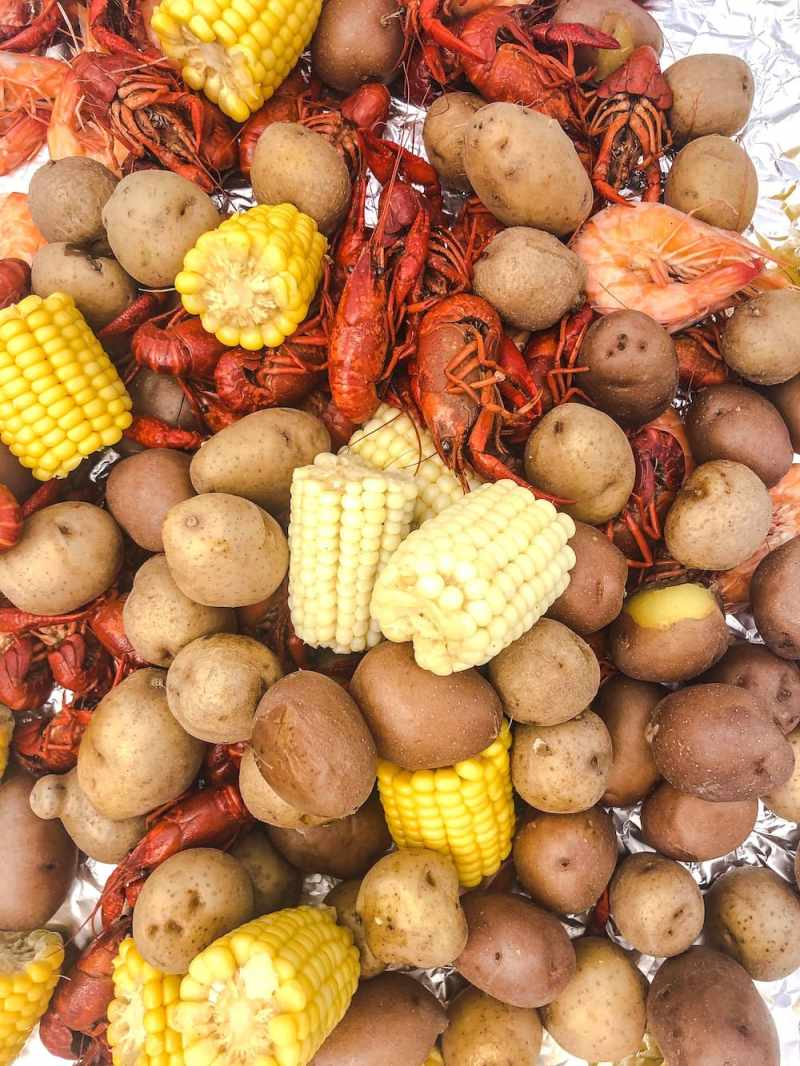 Mostly potatoes and corn with a few crawfish