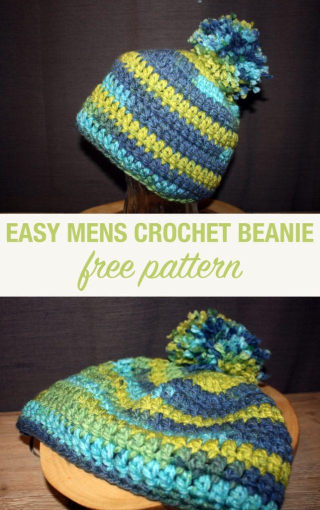 Simple Double Crochet Mens Beanie With Pom Pom Free Pattern
