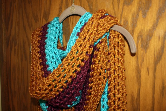 Extra Long Tri Color Crochet Scarf Pattern Stacys Stitches
