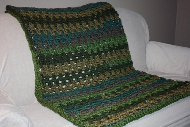 Granny Stripe Small Crochet Throw With Caron Tea Cakes Free