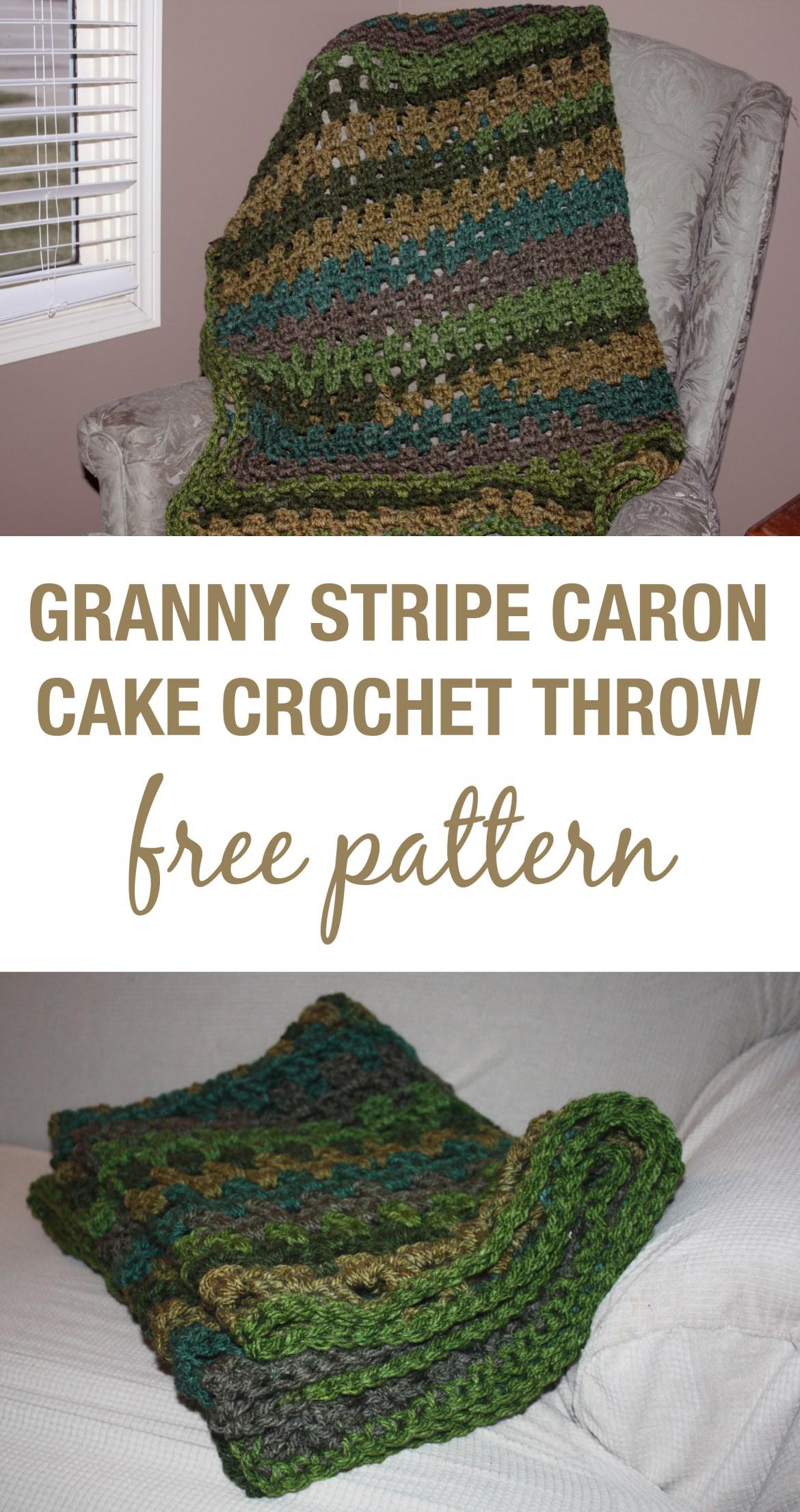 Granny Stripe (small) Crochet Throw with Caron Tea Cakes