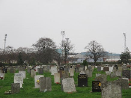 Fratton Park floodlights guide us past Milton Cemetery. (Photo: Stadiafile)